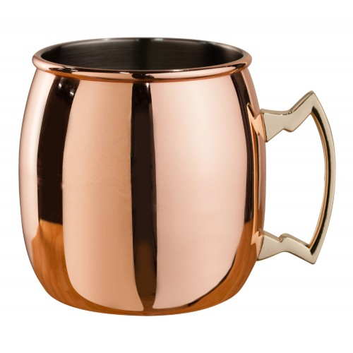 MEZCLAR CURVED MOSCOW MULE MUG COPPER PLATED BRASS HANDLE 500ML